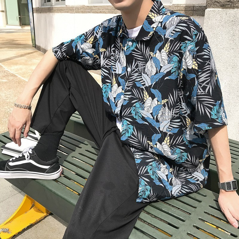 2019 board hot Summer Fashion Trend Cotton Clothing Flower Printing Short Sleeve Hawaiian mens floral Men Green Color Shirt in Casual Shirts from Men 39 s Clothing
