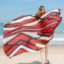 hot deal buy leayh brand women's ethnic style striped print shawls scarf vintage tassel beach towels seaside large scarves wraps 180cm*100cm