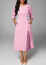 2018 Pink Work Wear Dress Fashion Patchwork Casual Style A-line Long Dress Office Half Sleeve O-Neck Dress