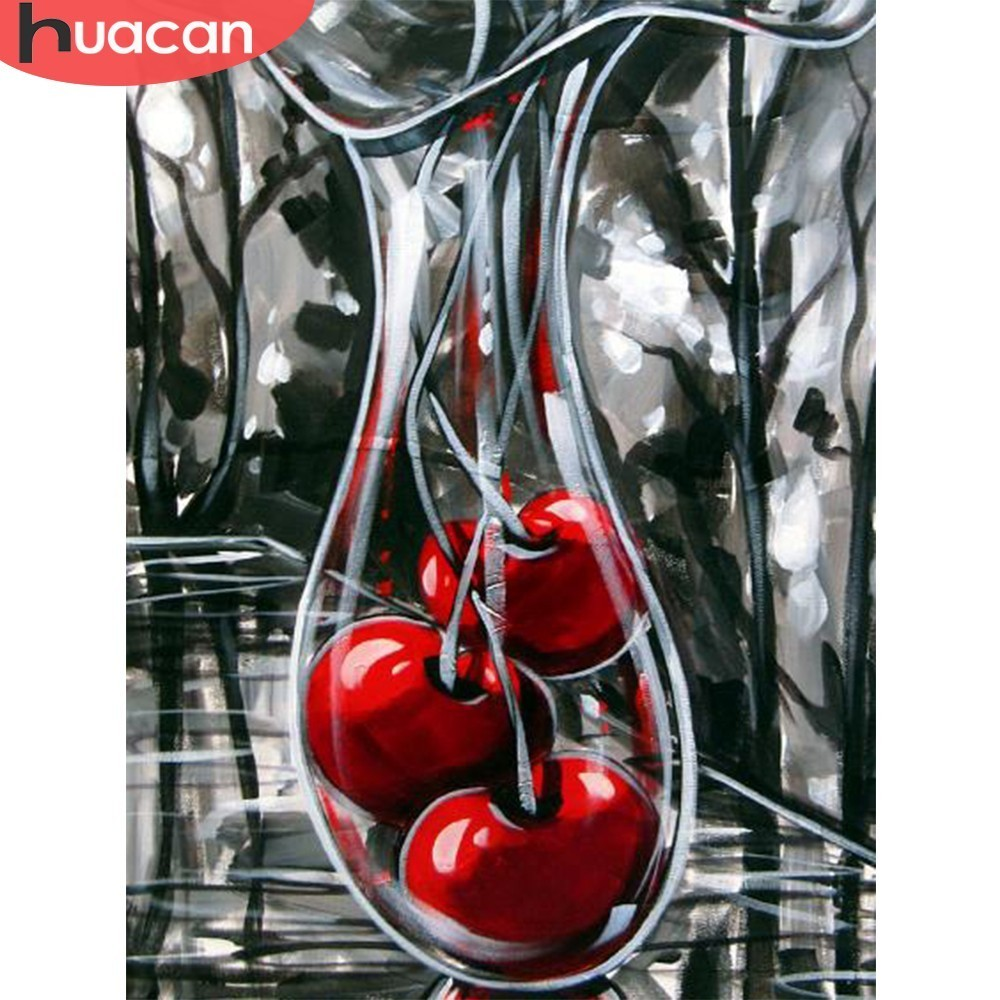 HUACAN Diamond Embroidery Cherry 5D DIY Diamond Painting Square Mosaic Picture Of Rhinestone Home Decoration Handmade Gift