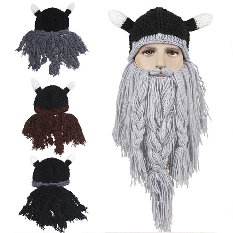Los hombres de sombrero de la cabeza bárbaro vagabundo Viking Beanie la barba del cuerno sombreros hecho a mano de punto de invierno caliente fiesta Cool divertido Cosplay tapa