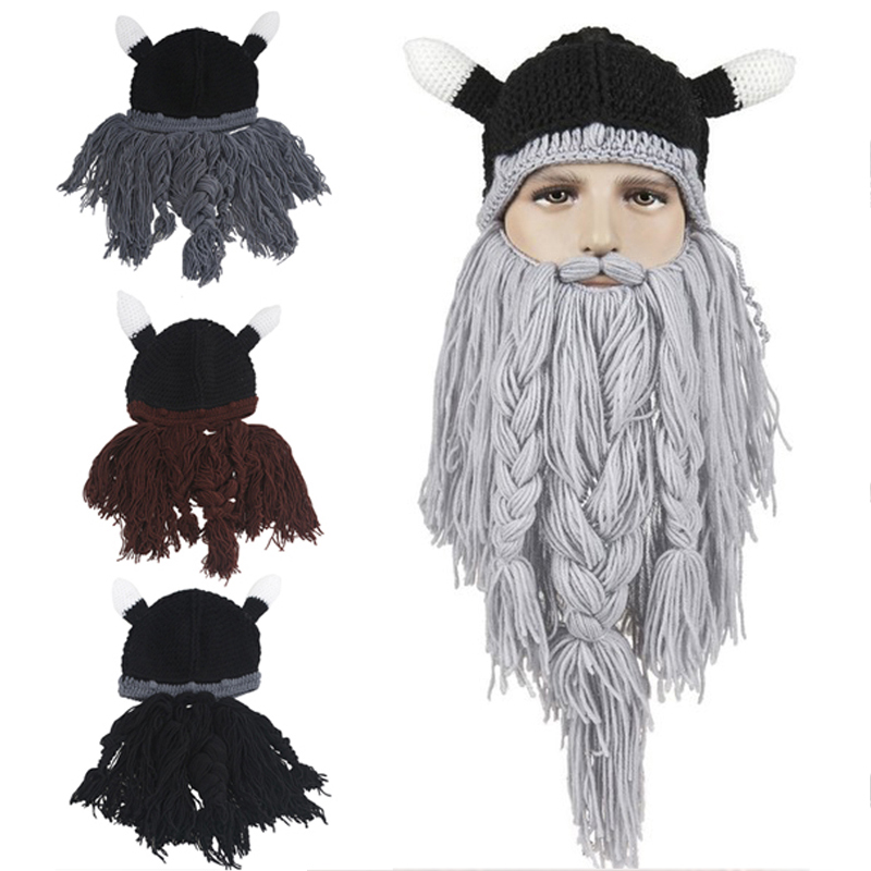 Herren Hut Kopf Barbar Vagabund Viking Bart Beanie Horn Hüte Handgemachte Stricken Winter Warme Urlaub Party Coole Lustige Cosplay Cap