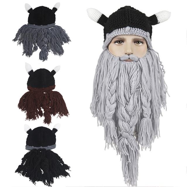 4c3d34787fe Men s Hat Head Barbarian Vagabond Viking Beard Beanie Horn Hats Handmade  Knit Winter Warm Holiday Party Cool Funny Cosplay Cap