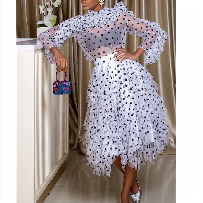 Women Two Pieces Sets Fashion Polka Dot Blouse With Ruffles Skirt Set Transparent Thin White Tunic Long Sleeve Holiday Wear Suit