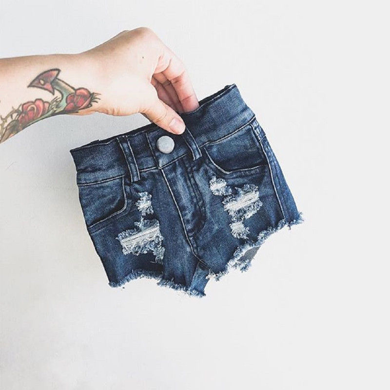 Summer Toddler Kid Baby Girls   Shorts   Stretch Ripped Jeans Destroyed Frayed Denim   Shorts   Hot Pants Costume Children Girls Clothes