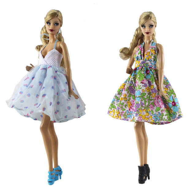 380e098f4abe0 US $2.89 5% OFF|Flower Dress Skirt Mini Evening Party Wedding Gown Fashion  Outfit Clothing For 1/6 BJD Xinyi FR ST Barbie Doll toys for girls-in Dolls  ...