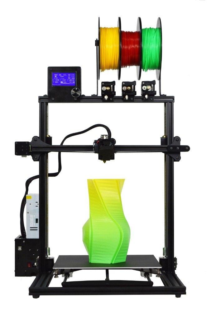 ZONESTAR 2019 Nova Atualização Tamanho Grande 3 Extrusora Multi Color Full Metal Frame de Alumínio de Montagem Rápida 3D Kit DIY de Impressora navio livre
