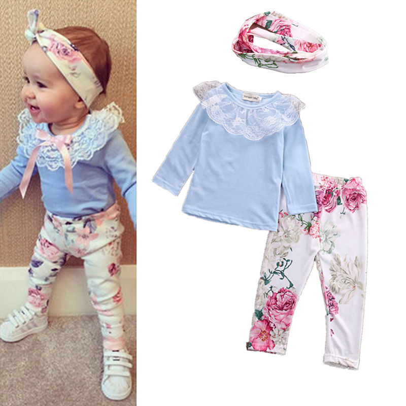6-36 Months Baby Girls Clothes Set 2020 Newborn Baby Girls Floral Lace Blue Pants Headband Set Baby Girls Outfits Infant Sets