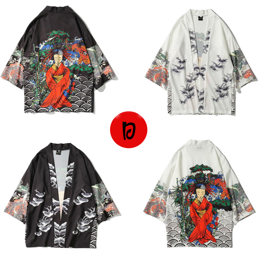 Japanese Clothes Style Female Floral Print Men Cardigan Asian Kimono Daily Haori Fashion Clothing Japan Blouse Samurai Male