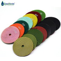 7pcs/lot 100mm Wet 4 inch flexible diamond polishing pads for granite and marble with 2.5mm working thickness