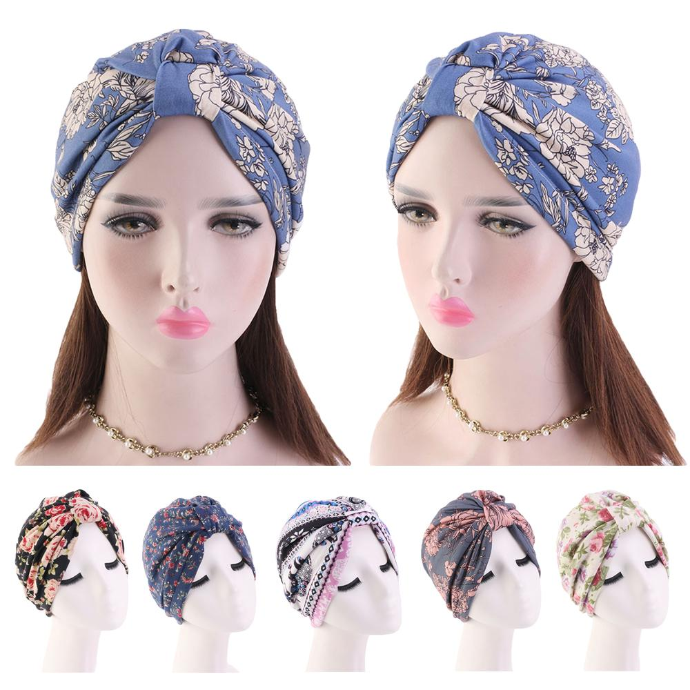 Women Floral Print Hat Muslim Hijab Chemo Cancer Cap Islamic Hair Loss Hat Head Scarf Turban Satin Liner Inner Cap Arab Fashion