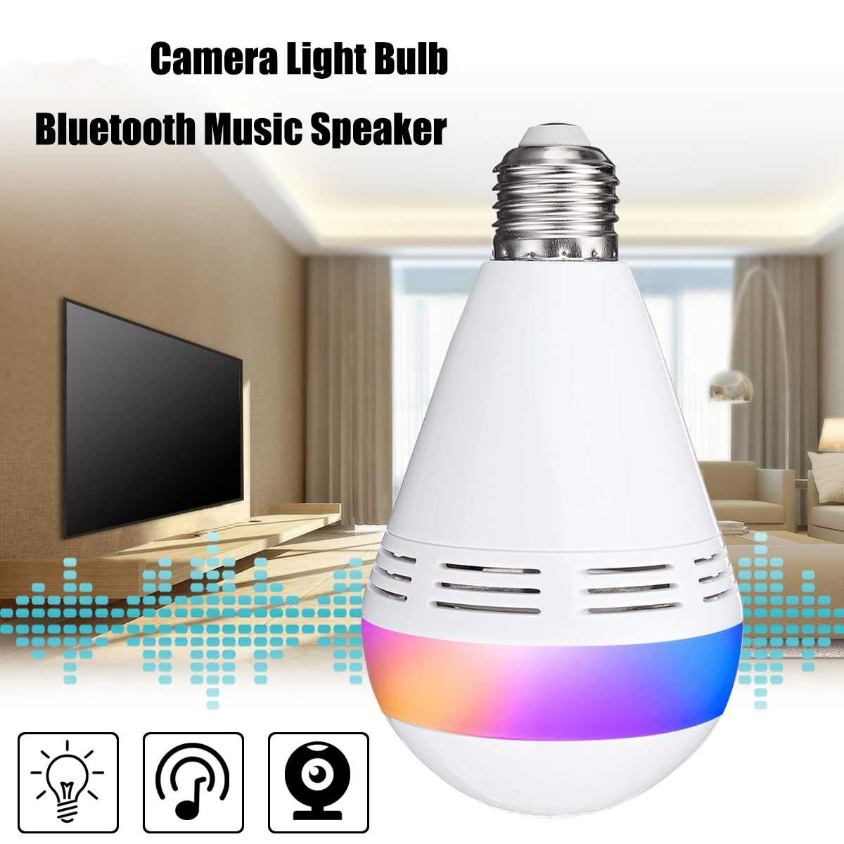 Image 2 - E27 Wireless bluetooth Speaker Bulb Music Playing Dimmable LED Lamp Light Bulb IP Camera Wifi FishEye CCTV Home Security Camera-in LED Bulbs & Tubes from Lights & Lighting