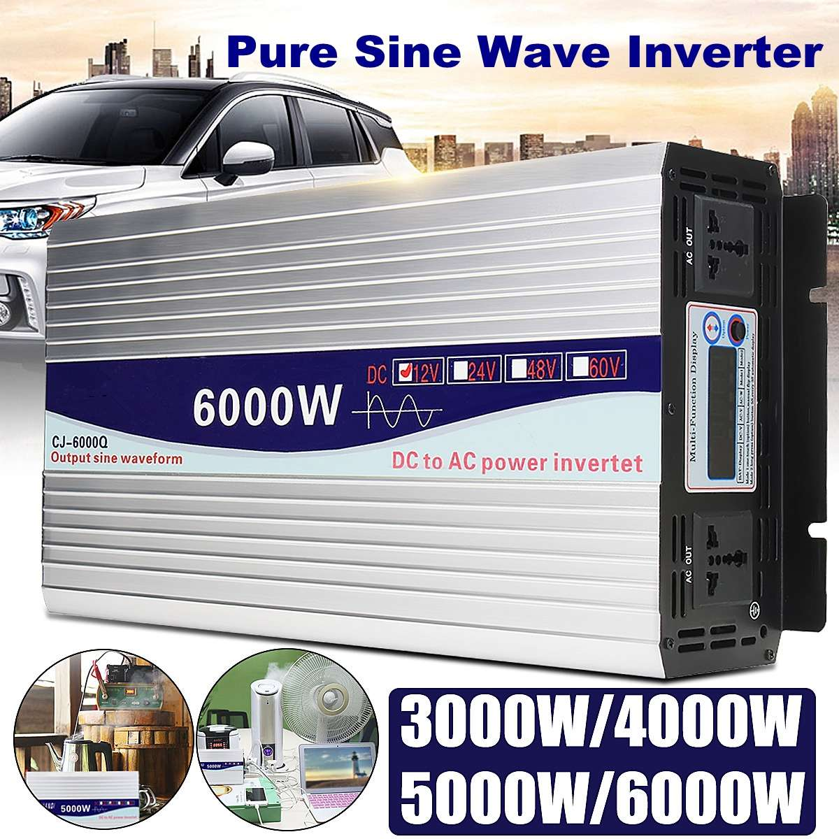 NEW Inverter 12V/24V to AC 220V 3000/4000/5000/6000W Voltage transformer Pure Sine Wave Power Inverter Converter LED DisplayNEW Inverter 12V/24V to AC 220V 3000/4000/5000/6000W Voltage transformer Pure Sine Wave Power Inverter Converter LED Display