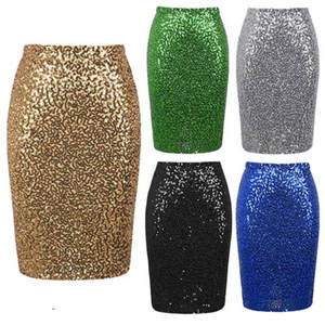 Sequins Skirt Club Glitter Sparkle Party Bodycon Female Sexy High-Waist Women's Long/mini