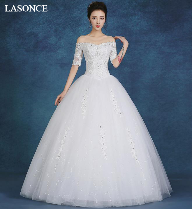 LASONCE Crystal Boat Neck Lace Appliques Ball Gown Wedding Dresses Illusion Half Sleeve Backless Bridal Gowns