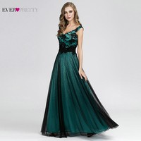 Emerald Green Prom Dresses Long Ever Pretty EZ07912DG V Neck Sleeveless Sexy Lace Formal Satin Prom Dresses Elegant Party Gowns