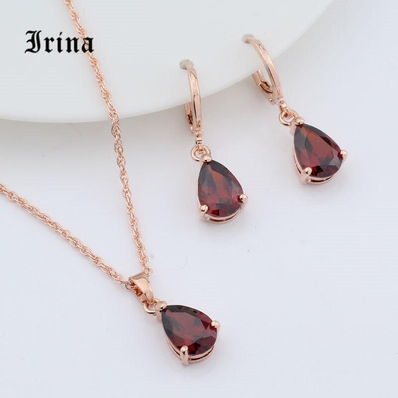 Irina, 1 комплект, розовое золото, цвет AAA, овальная огранка, фианит, Очаровательное ожерелье, милый кулон, серьги капельки, комплект ювелирных изделий Ювелирные наборы      АлиЭкспресс