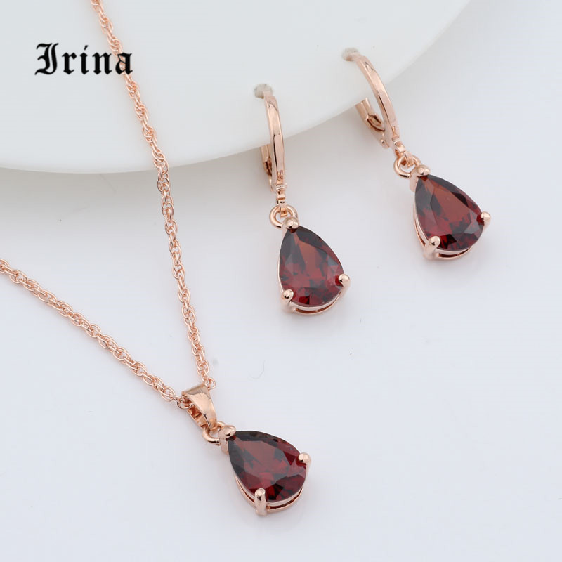 Irina 1Set Rose Gold Color AAA Oval Cut cubic zirconia Charming necklace Cute pendant drop earrings jewelry set