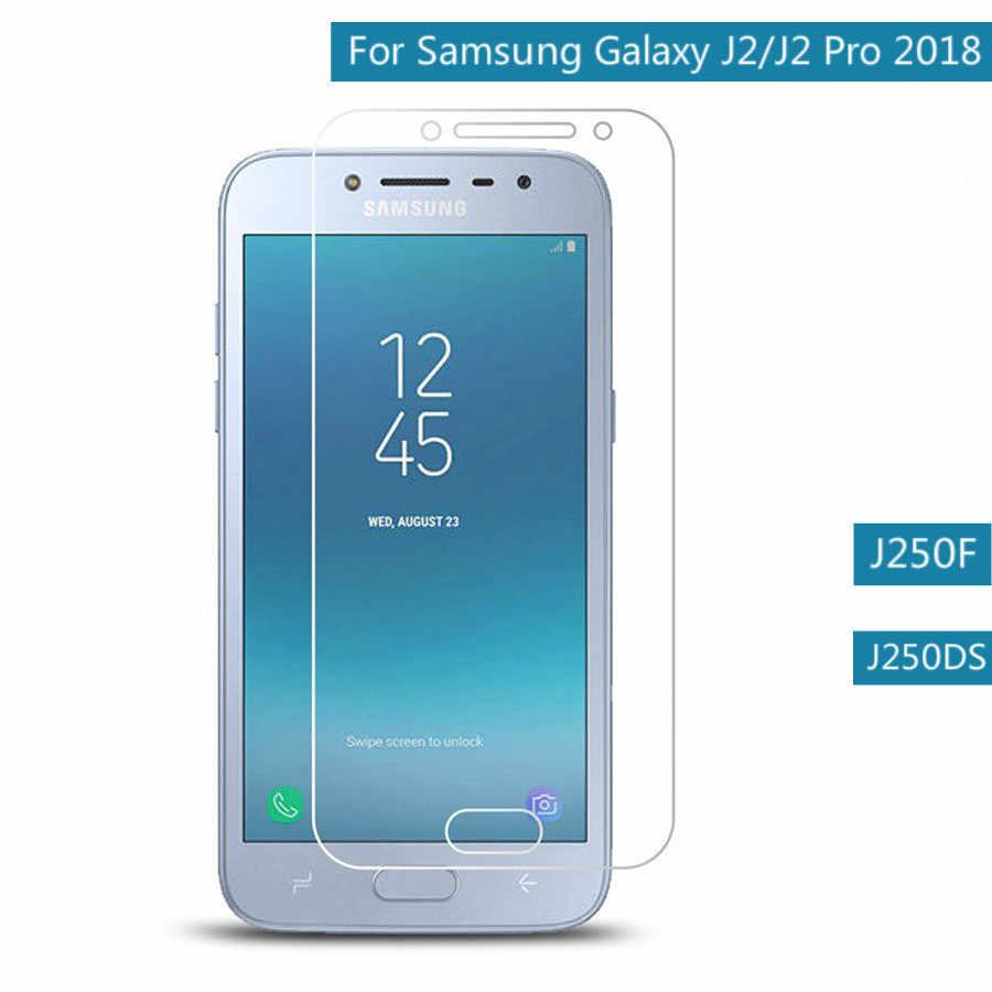 2 Pcs 9 H 2.5D طبقة رقيقة واقية لسامسونج غالاكسي J2 2018 الزجاج المقسى لسامسونج J2 برو 2018 واقي للشاشة على j250 F G M DS