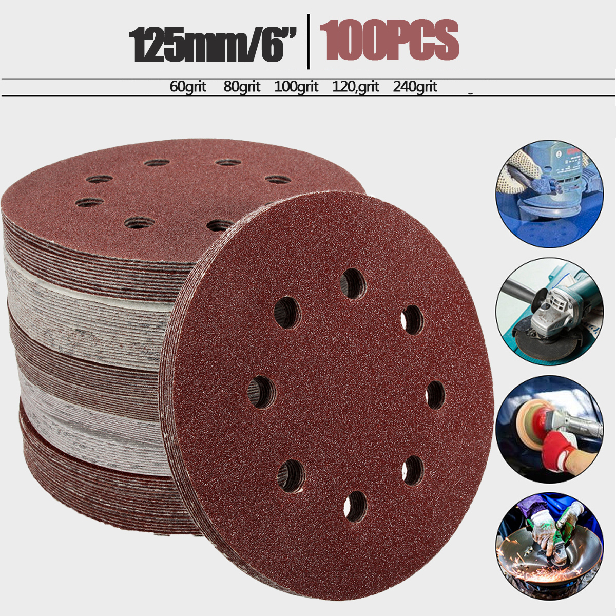 100pcs 125mm 60 80 100 120 240 Grit Round Shape Sanding Discs Buffing Sheet Sandpaper 8 Hole Sander Polishing Pad Each Of 20