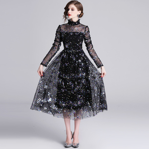 Image 2 - Banulin HIGH QUALITY Newest Stylish 2019 Runway Party Dress Womens Long Sleeve Star Sequined Embroidered Gauze Mesh Dress
