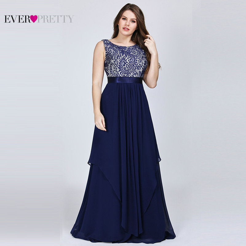 Plus Size   Bridesmaid     Dresses   Ever Pretty EP08217 Lace A-line Sleeveless Navy Blue Ruffles Long Cheap Prom Party Gowns 2019