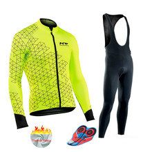Northwave NW 2018 Pro Team Winter Thermal Cycling Clothing Man Jersey Long  Bike Cloth MTB Ropa Ciclismo Bicycle Maillot Gel Bib nw 2018 team pro cycling team jersey winter thermal fleece racing sport bicycle clothing ropa ciclismo mountain