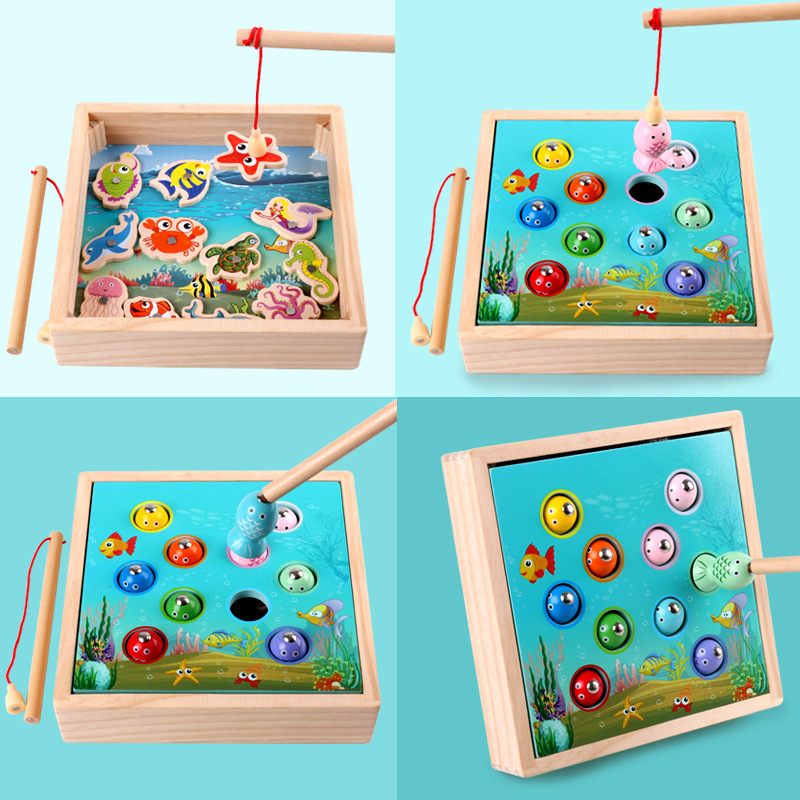 Fishing Toys Children Wooden Toys Magnetic Games Fishing Toy Game Kids 3d Fish Baby Kids Educational Toys Outdoor Funny Boys Girl Gifts