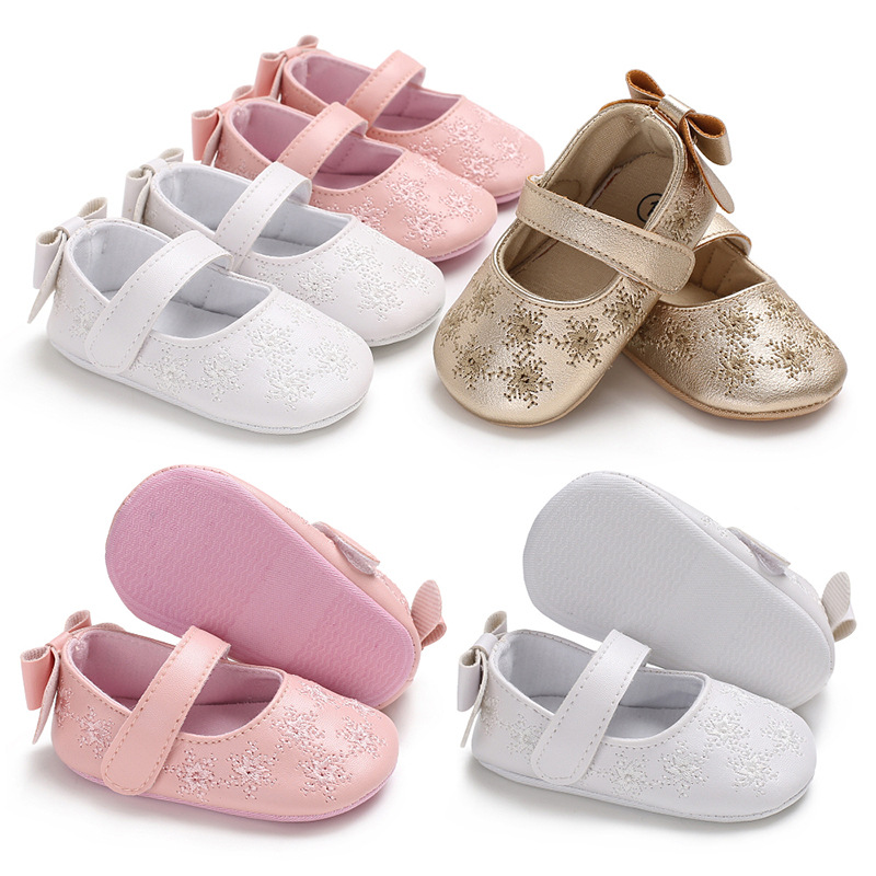 Baby Girls Princess Single Shoes Golden Soft Soled Indoor First Walkers Bow Flower Printing PU Infant Toddler Crib Shoes