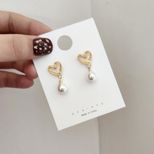 2019 Korea Earrings Pearl Lace Heart Stud Gold Color For Women Baroque Fashion Party Wedding Jewelry