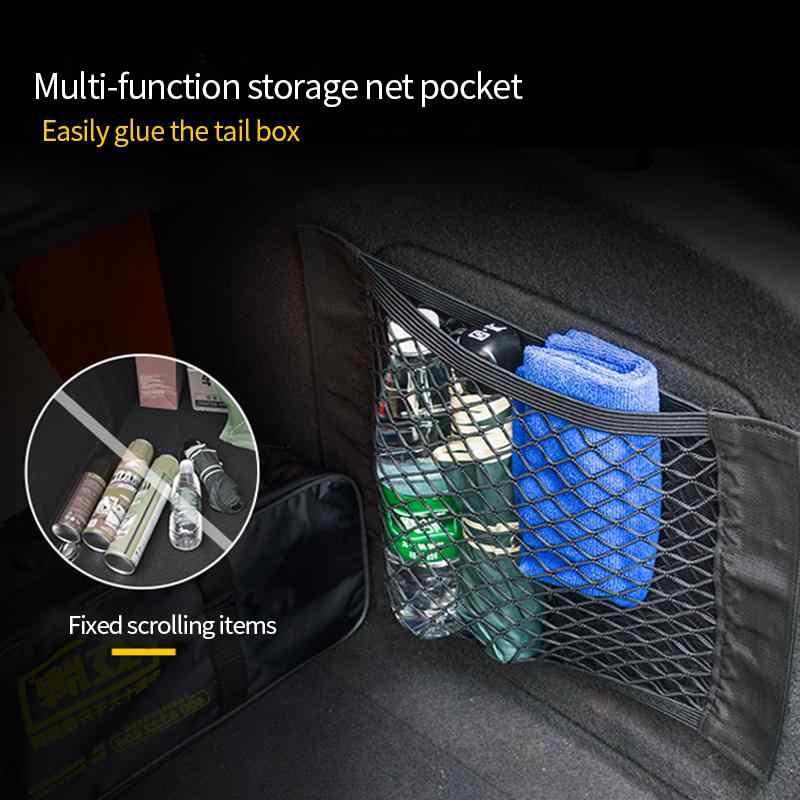 Mobil Kembali Belakang Kursi Tas Penyimpanan Mesh Auto Organizer Double-Deck Elastis String Net Magic Sticker Saku Tas penyelenggara Mobil