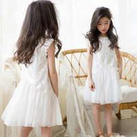 Vestido de encaje blanco sin mangas para niñas de 4 a 14 años traje de princesa con volantes, vestidos de fiesta de estilo escolar para chicas adolescentes 2021