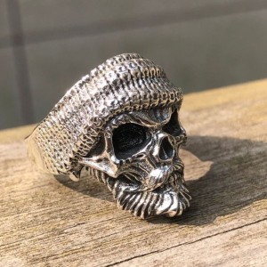 Image 2 - ZABRA Luxury Skull Ring 925 Silver Adjustable Size 6 13  Beard Rings For Men Gothic Vintage Punk Rock Biker Man Gift Jewelry