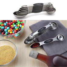 7Pcs/set Chef Magnetic Measuring Spoons Set Stainless Steel Fit in Spice Jars Tools Dual Sided Scales for Kitchen Tool