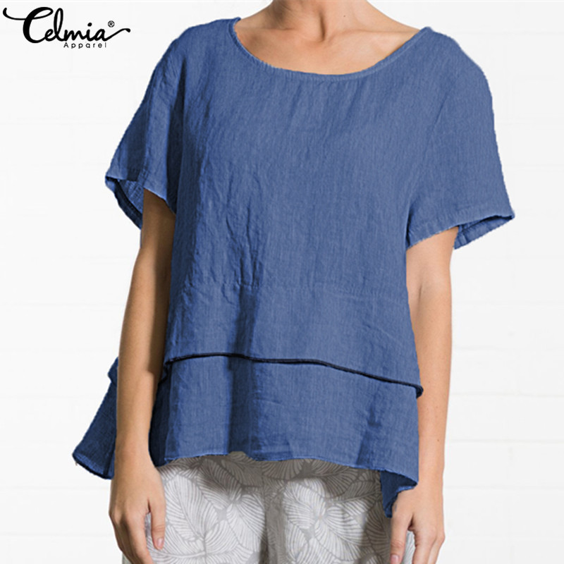 Celmia 2019 Summer Women Blouse Short Sleeve Ruffle Hem Shirts Tiered Plain TopS Casual Loose Elegant Retro Blusas Femininas 5XL
