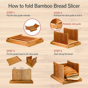 Image 5 - Bamboo Bread Slicer Cutting Guide   Wood Bread Cutter For Homemade Bread, Loaf Cakes, Bagels Foldable And Compact With Crumbs