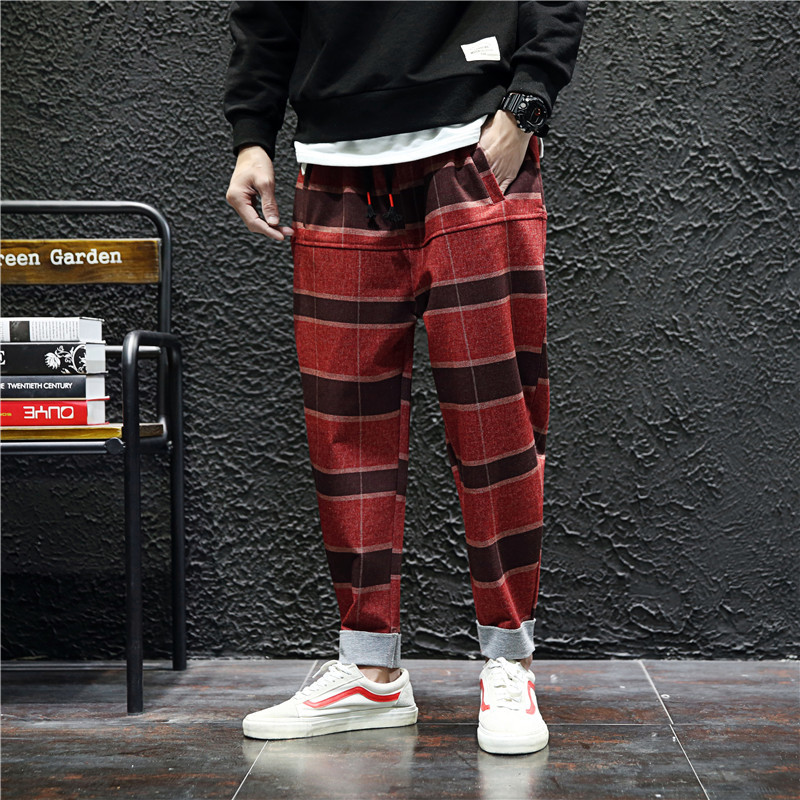 Sweatpants Streetwear Trousers Cotton-Padded Hip-Hop Plaid Japanese Leisure Haren New-Fashion