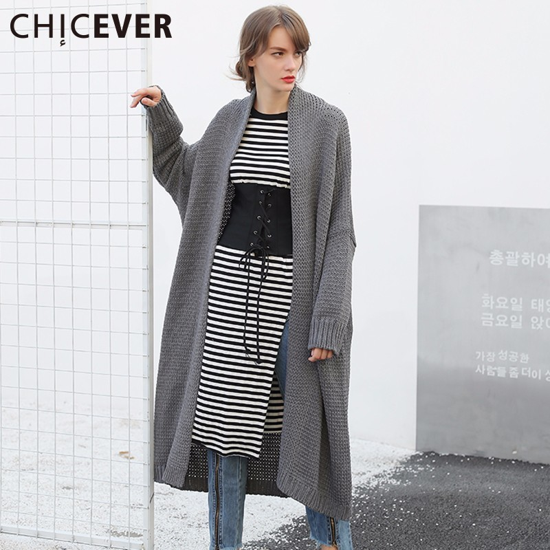 CHICEVER Knitting Cardigans Female Sweater For Women Batwing Sleeve Loose Big Size Autumn Sweater Jumper Clothes