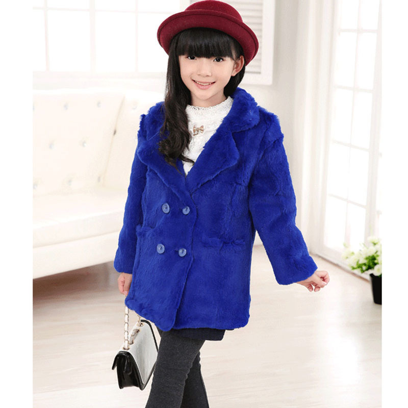 Fashion Girls Rex Rabbit Fur Coat Children winter warm Outerwear Coats Army Girls Whole Kids Long V-Neck Solid Clothing C#24 недорго, оригинальная цена