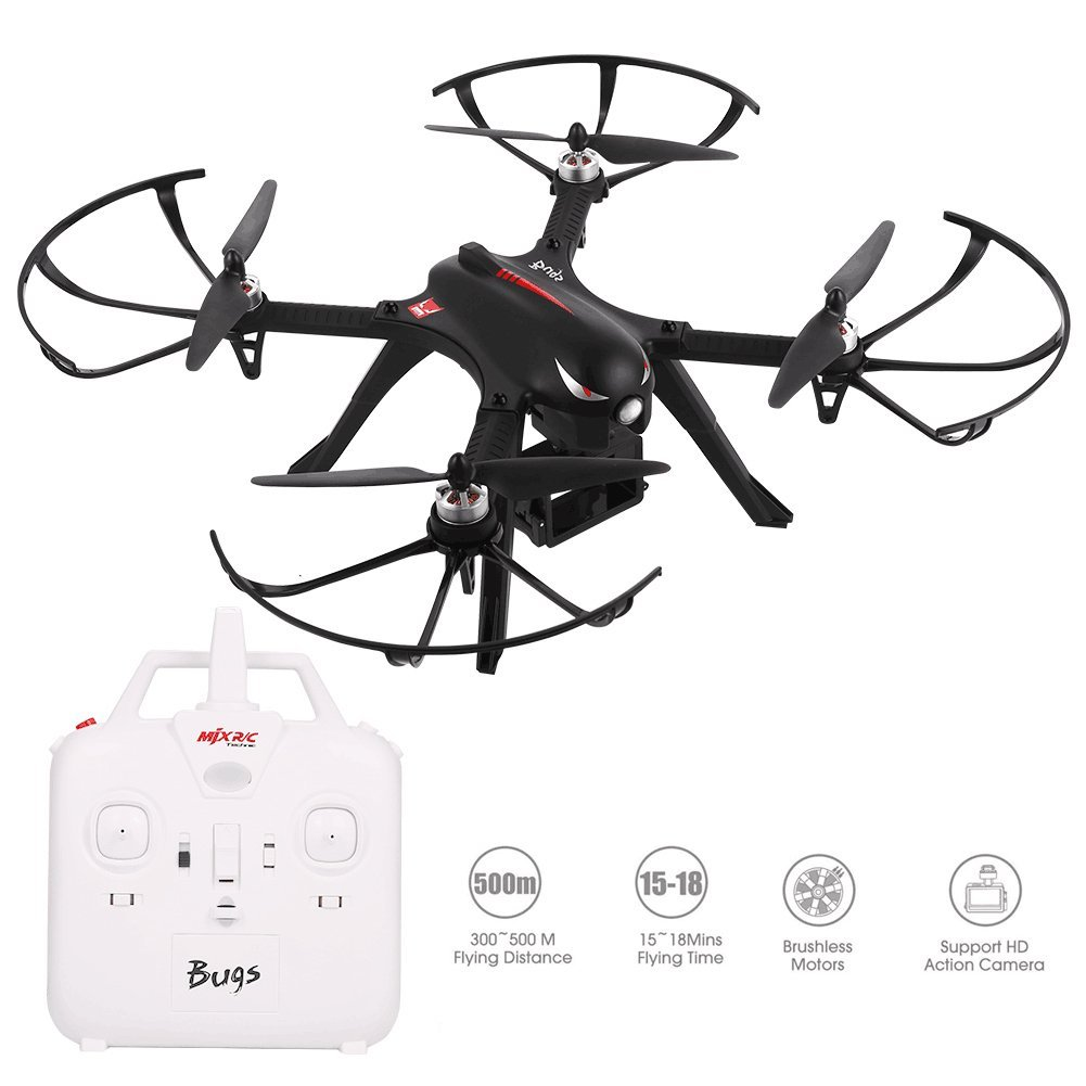 MJX B3 Bugs 3 2.4G Gyro Brushless Motor Independent ESC Drone Support C4000 Gopro 3/4 XiaoYi Action Camera RC Quadcopter DroneMJX B3 Bugs 3 2.4G Gyro Brushless Motor Independent ESC Drone Support C4000 Gopro 3/4 XiaoYi Action Camera RC Quadcopter Drone