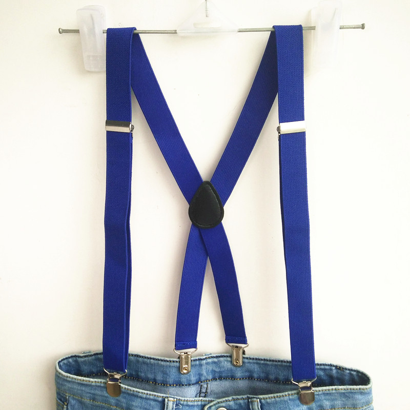 Royablue Color Suspenders Men Strong Elastic Strap Adujutable Clips Casual Women Suspender Braces For Boys And Girls BD055
