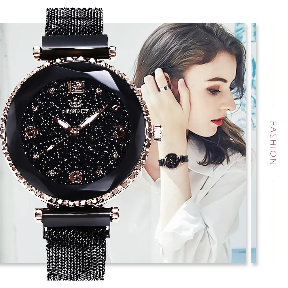 Hot Top Brand Watches For Woman Rose Gold Mesh Magnet Buckle Starry Quartz Watch Geometric Surface Casual Women Wristwatch Clock