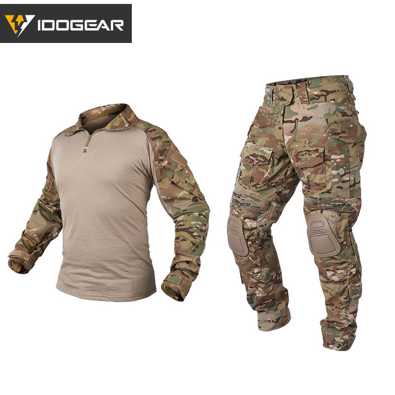 IDOGEAR Hunting Clothes camouflage uniform Gen3 Tactical Combat BDU clothes Airsoft Paintball Multicam Black Clothing