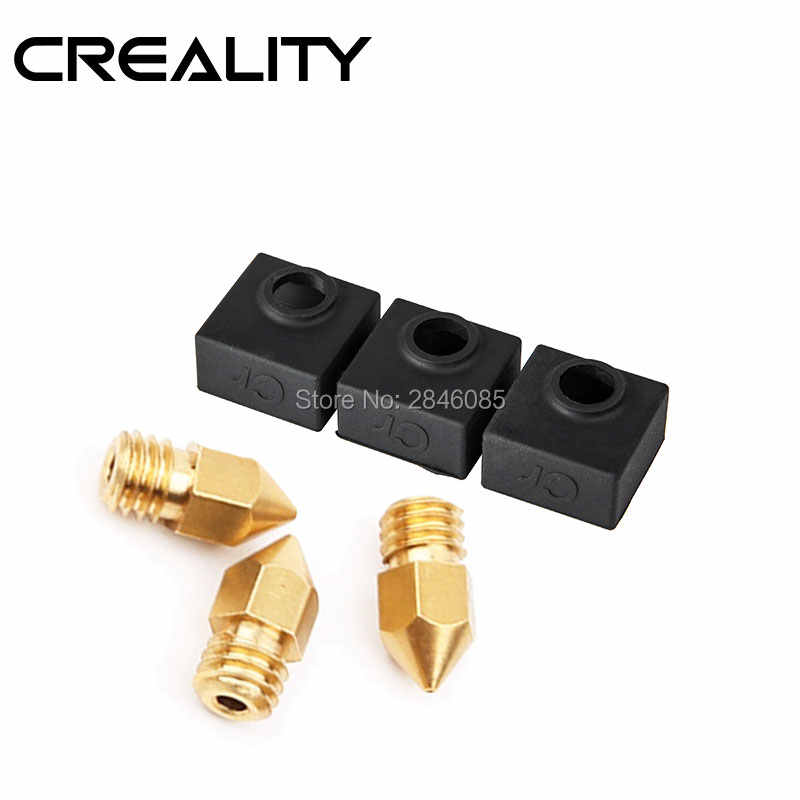 Creality 3D Printer Bagian Nozzle 3 Pcs/lot Ukuran 0.3 Mm/0.4 Mm/0.5 MM Extruder Print Head + 3 Pcs Heater Block Silicone Cover