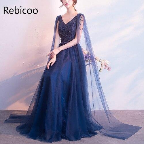 Perles longues robes de soirée col en v profond Sexy robes de bal de promo Tulle gland mode femmes robe de Banquet formelle de mariage G212