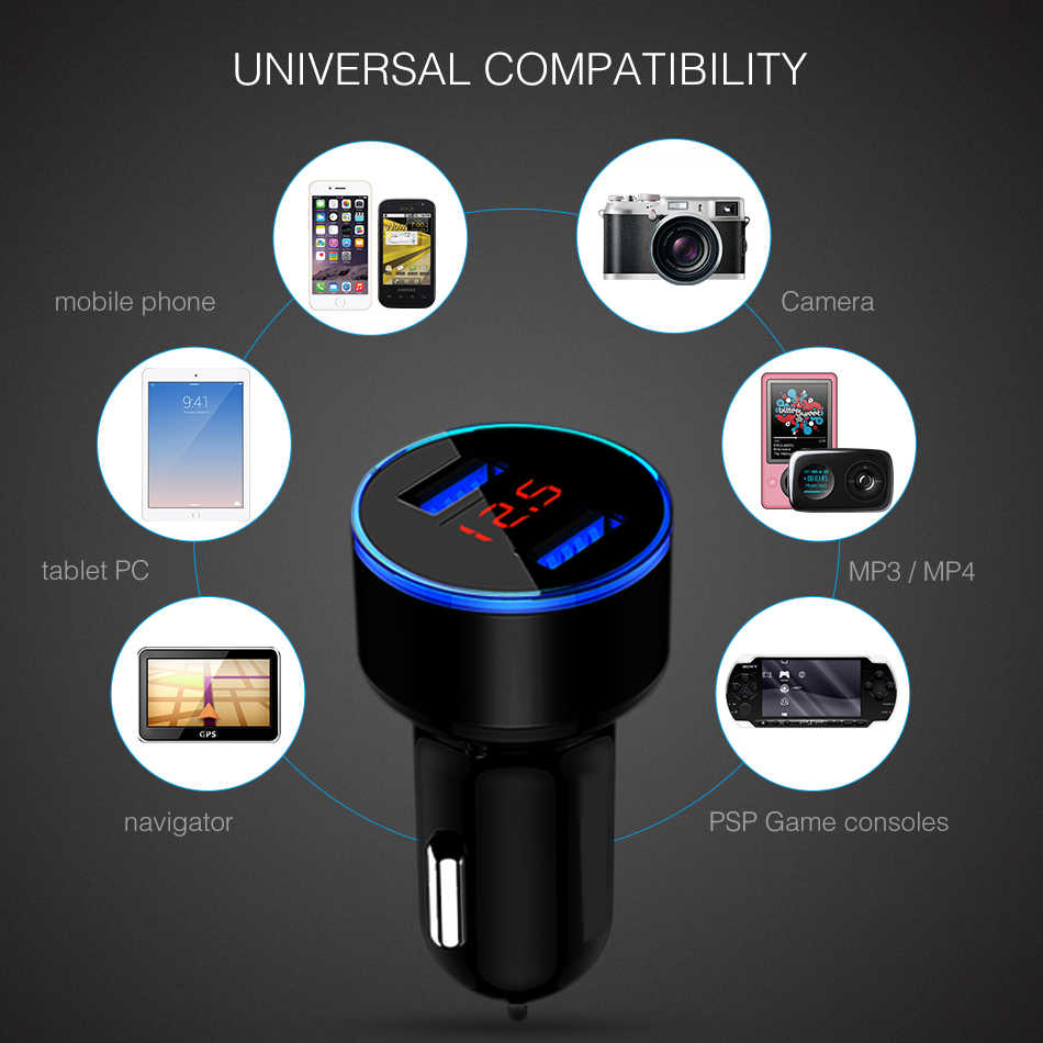 Car Charger 5V 3.1A With LED Display Universal Dual Usb Phone Car-Charger for Samsung For iPhone 12-24V Cigarette Socket Lighter