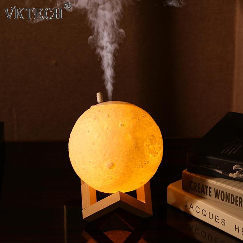 880mL USB Air Humidifier 3D Moon Lamp Aroma Essential Oil Diffuser Air Purifier Mist Maker For Office Home Decor Air Fresheners
