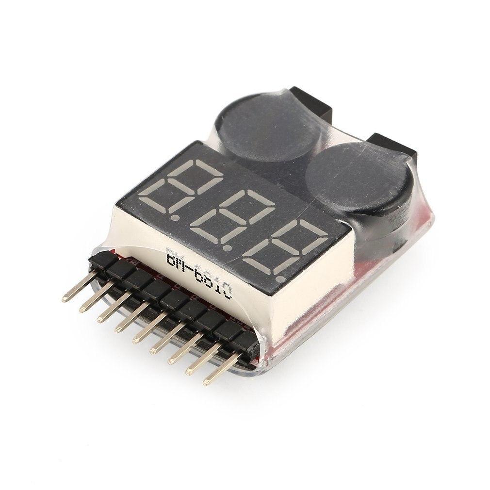 リポバッテリー電圧テスター電圧計インジケータチェッカーデュアルスピーカー 2in1 1 s-8 s組み合わせ低電圧ブザー警報
