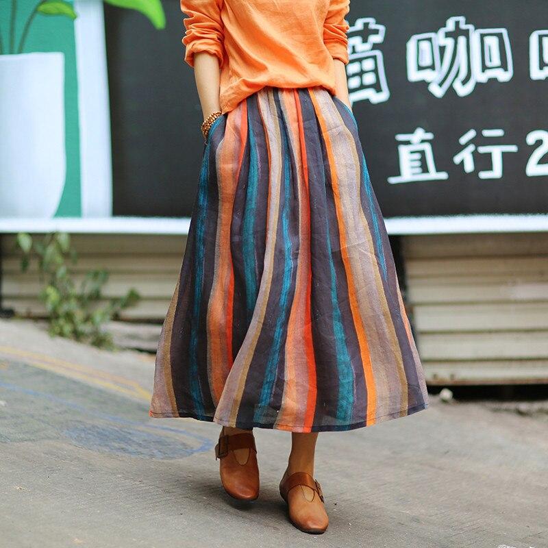 3ad9424d440 Été Ramie Dames Jupe Femmes Taille Rayé Rayure Printemps Jupes Elastique  Rétro Multi Femme 2019 Coloré Rayures VGLSMqUzjp