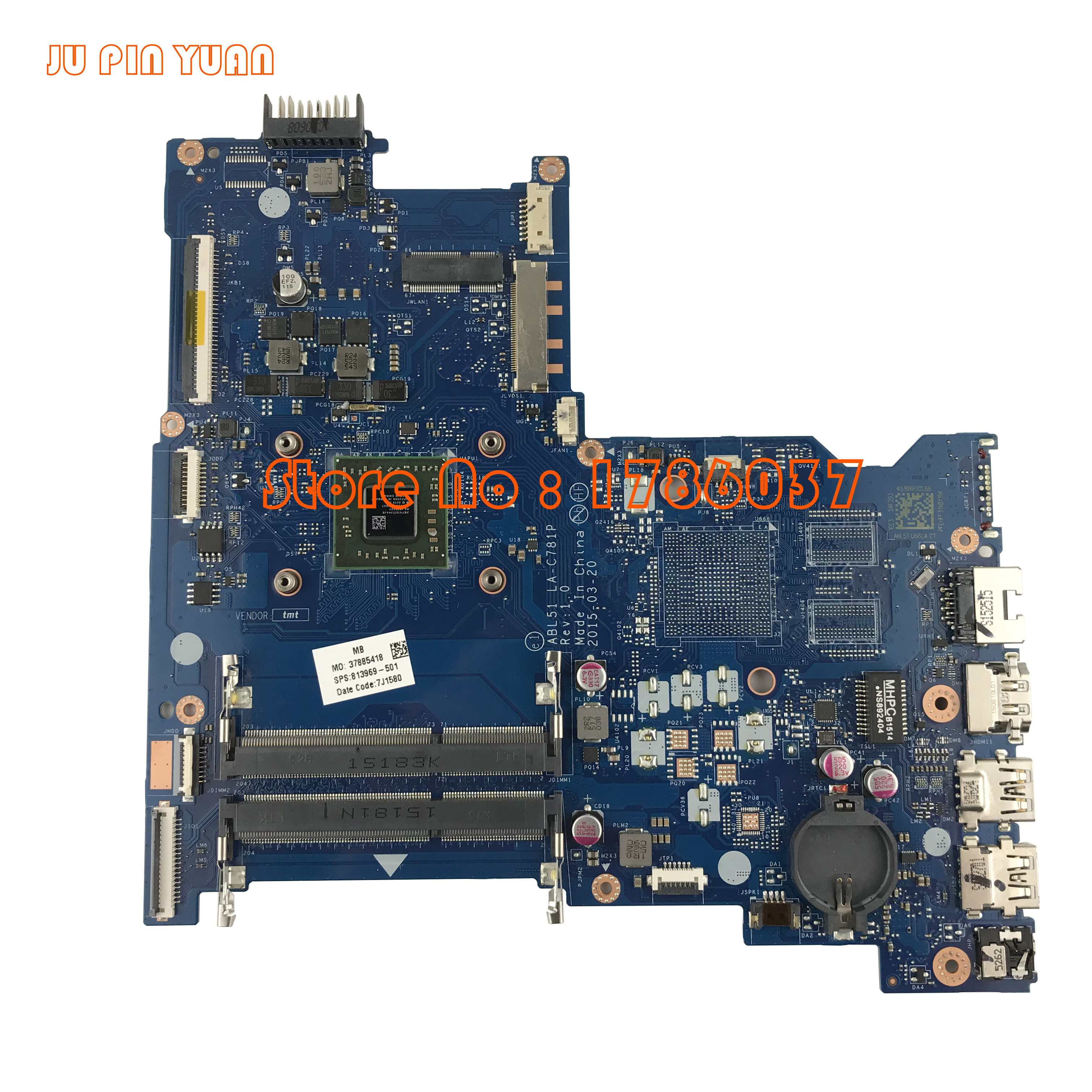 JU PIN YUAN 813969-001 813969-501 ABL51 LA-C781P For HP Notebook 15-AF Series Motherboard A8-7410 100% Fully Tested